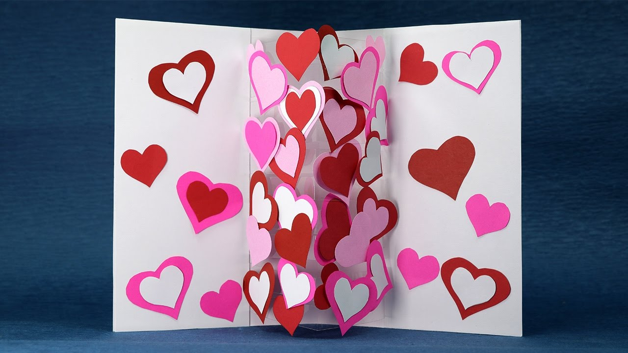 Homemade valentine card diy pop up heart card easy for What to put on a valentines card