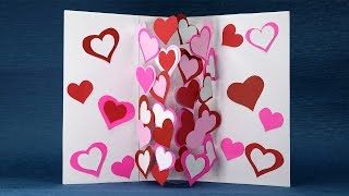 Homemade Valentine Card - DIY Pop Up Heart Card Easy Tutorial