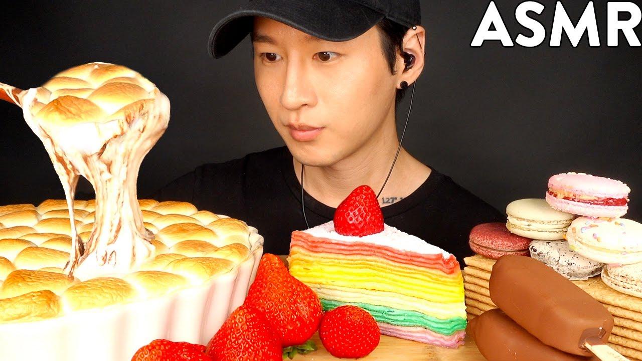 ASMR CHOCOLATE ICE CREAM, S'MORES DIP, MACARON MUKBANG (No Talking) EATING SOUNDS | Zach Choi A