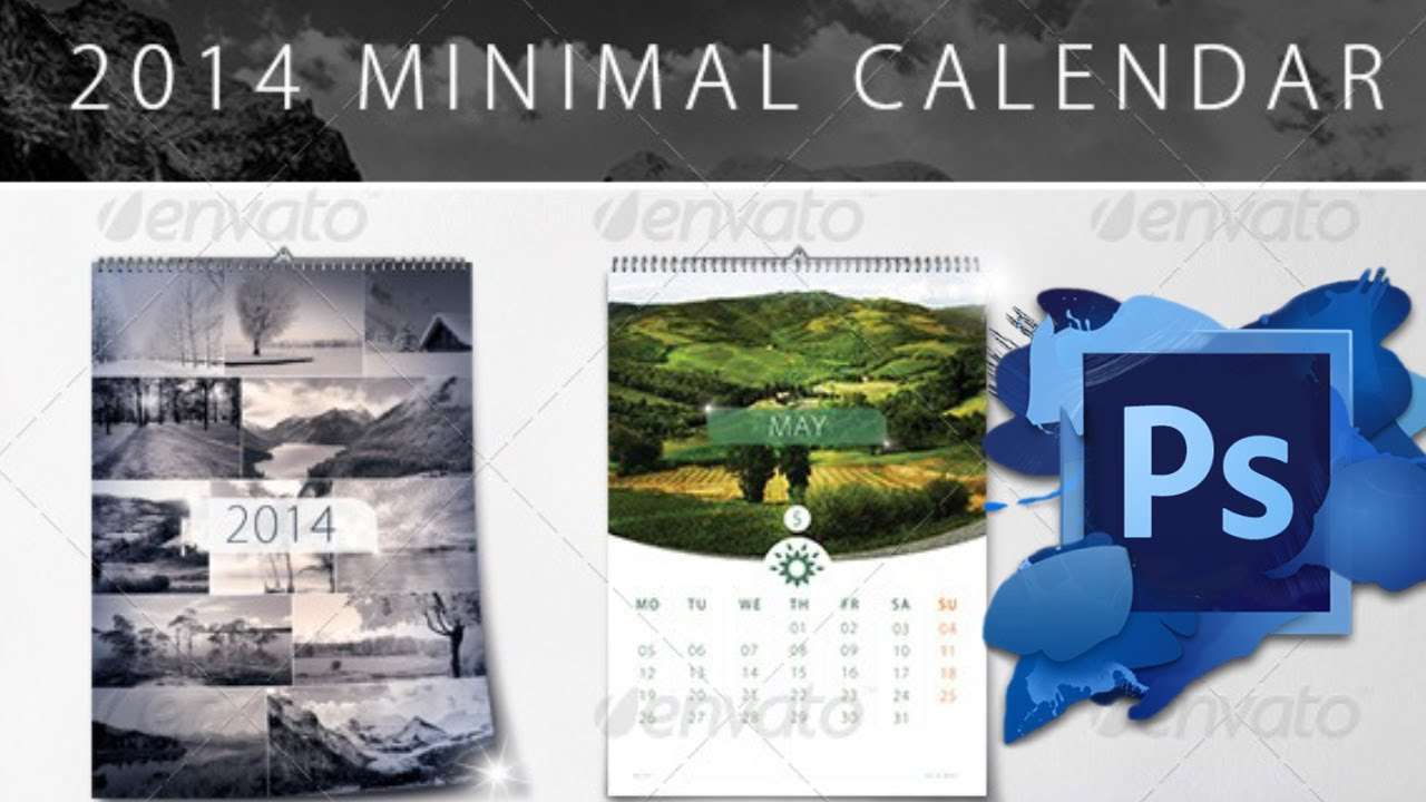 Inspirational 35 illustration photo calendar template for photoshop.