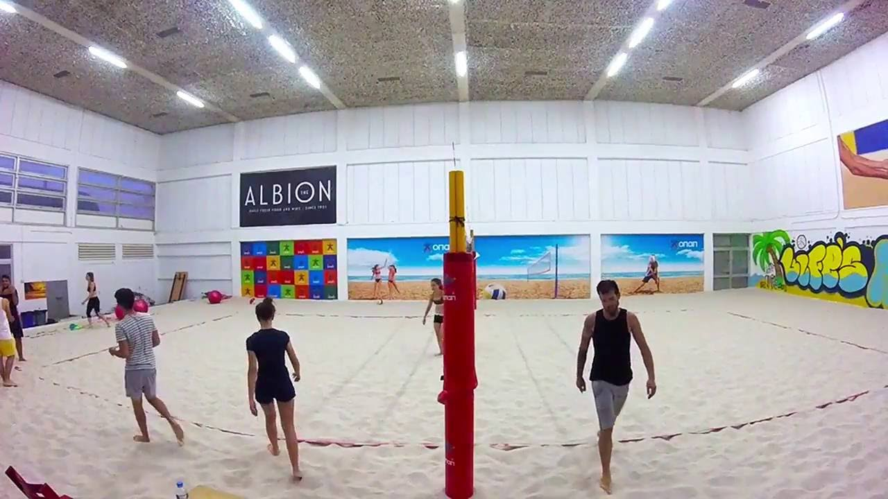 Beach Volleyball Indoor Training Roach And Jump Spike On Sand