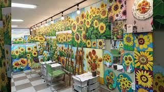 해바라기 꽃 유화그림 가득한 부산해운대화실