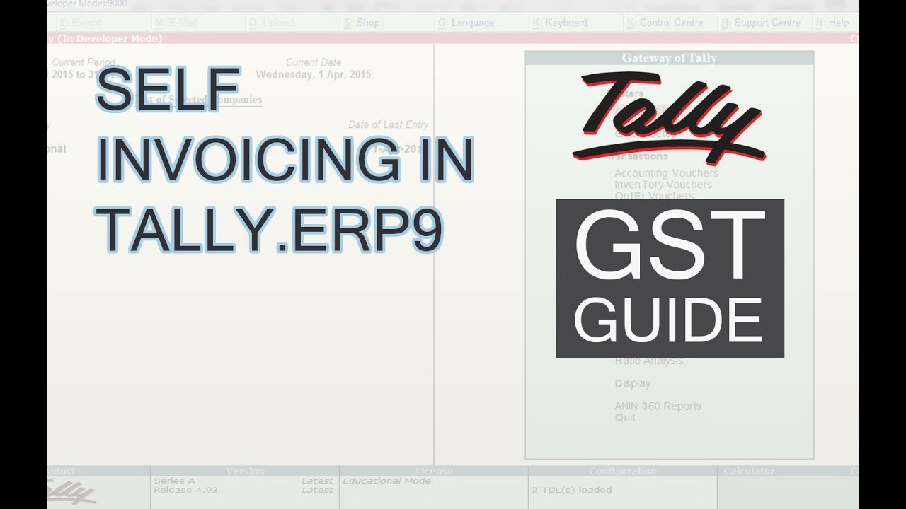 Learn Self Invoicing In Tally Erp9 Self Invoice In Tally Under Gst