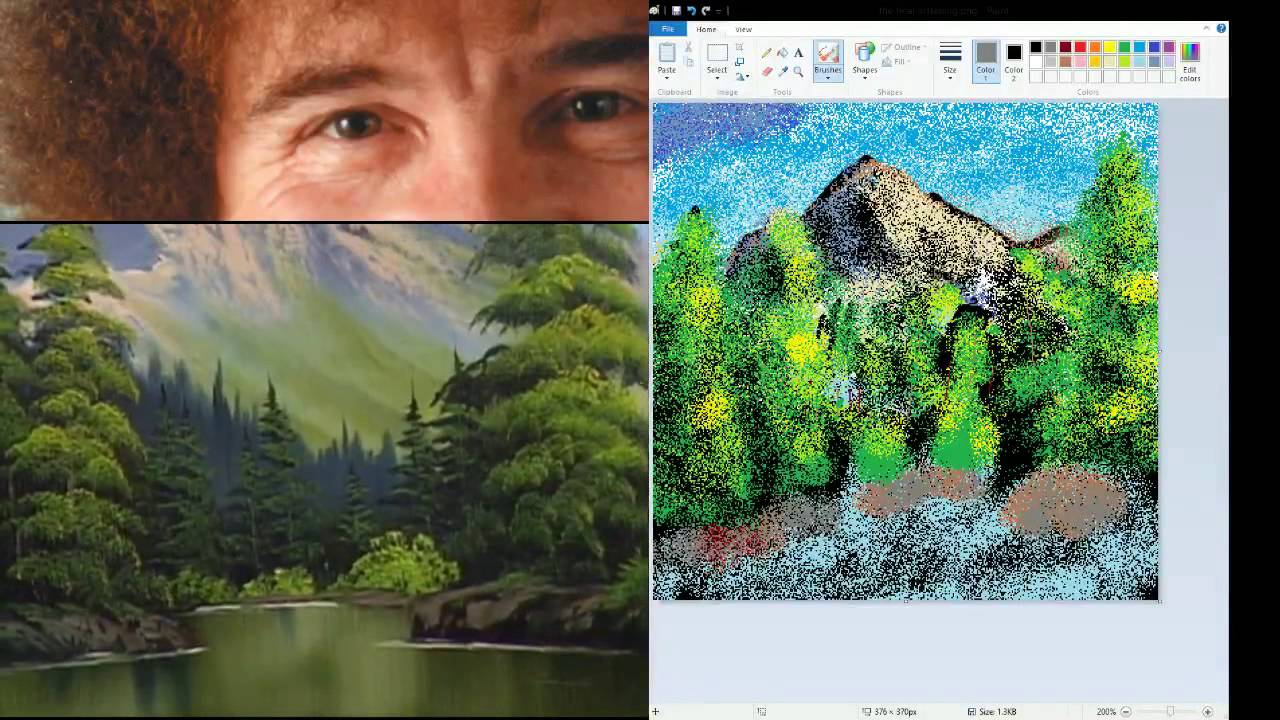 stream highlights painting in ms paint with bob ross