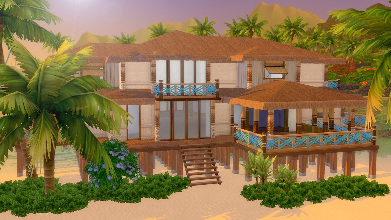 Tropical Island Beach House: Let's Build A Tropical Beach House In The Sims 4: Island
