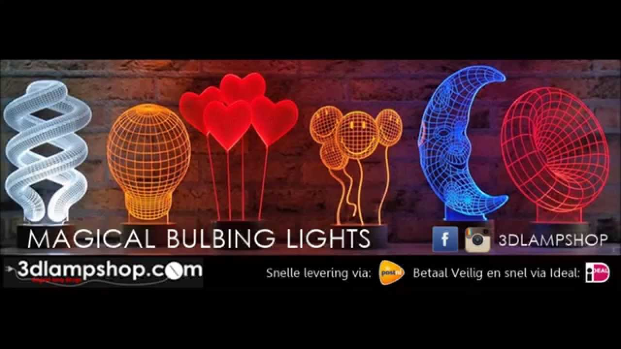 WWW.3DLAMSHOP.COM BULBING LIGHT 3D MAGICAL DESING LAMP - YouTube