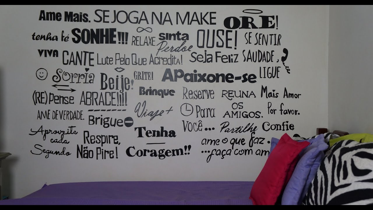 Papel De Parede Para Quarto Frases ~ Adesivo de Frases para Parede  DIY  YouTube