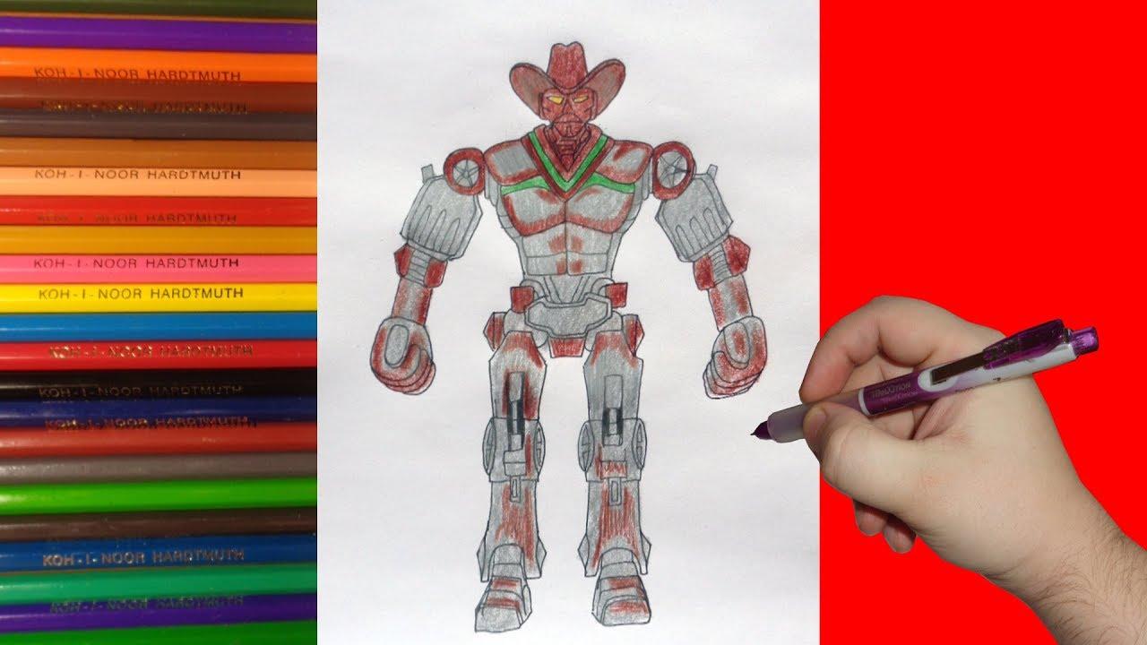 How to draw robot Six Shooter, Real Steel, Как нарисовать ...