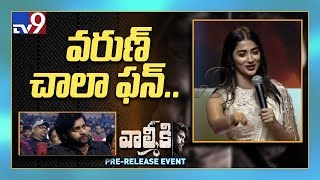 Pooja Hegde cute speech at Valmiki Pre Release Event - TV9