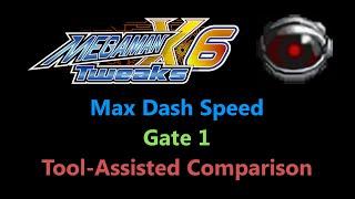[TAS Comparison] Tweaked Mega Man X6 - Max Dash Speed - Gate 1