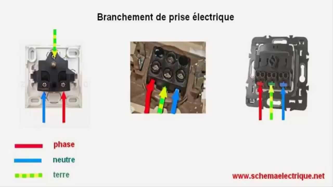 schema branchement cablage prise electrique de courant - Installer Une Prise Electrique Exterieure