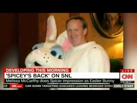 Thumbnail: Sean Spicer in the Bunny Suit SNL Melissa McCarthy CNN discussion can Spicer Survive this?