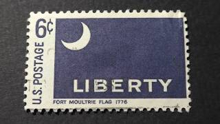 Postage stamp. USA. U.S.Postage. LIBERTY. Fort Moultrie flag 1776. Price 6 cents