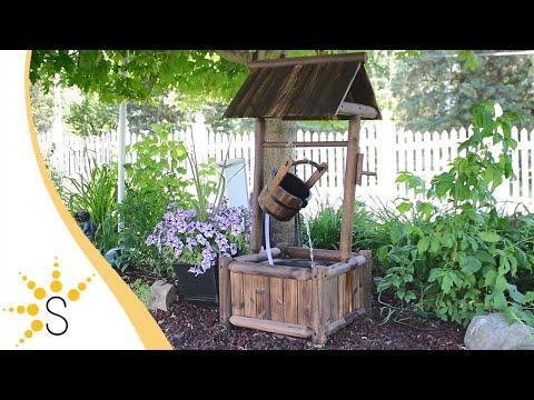 Sunnydaze Rustic Wood Wishing Well Outdoor Fountain DSL-093