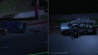RAW VIDEO LAPD officer tackles DUI suspect in Northridge chase   ABC7