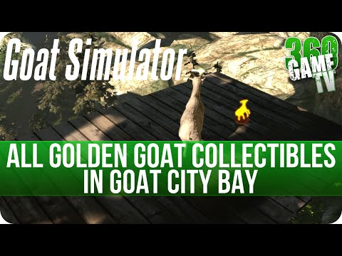 Goat Simulator All Collectibles (Golden Goat Trophies) in Goat City Bay, I Freaking Love Goats Guide
