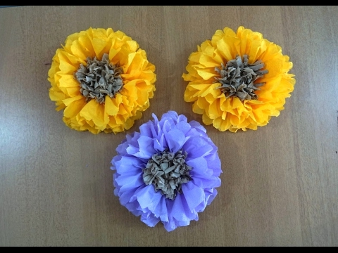 Napkin/Tissue Flowers Tutorial ~ DIY Wall Decor ~ Wall Hanging Flowers ~ Instructions ...