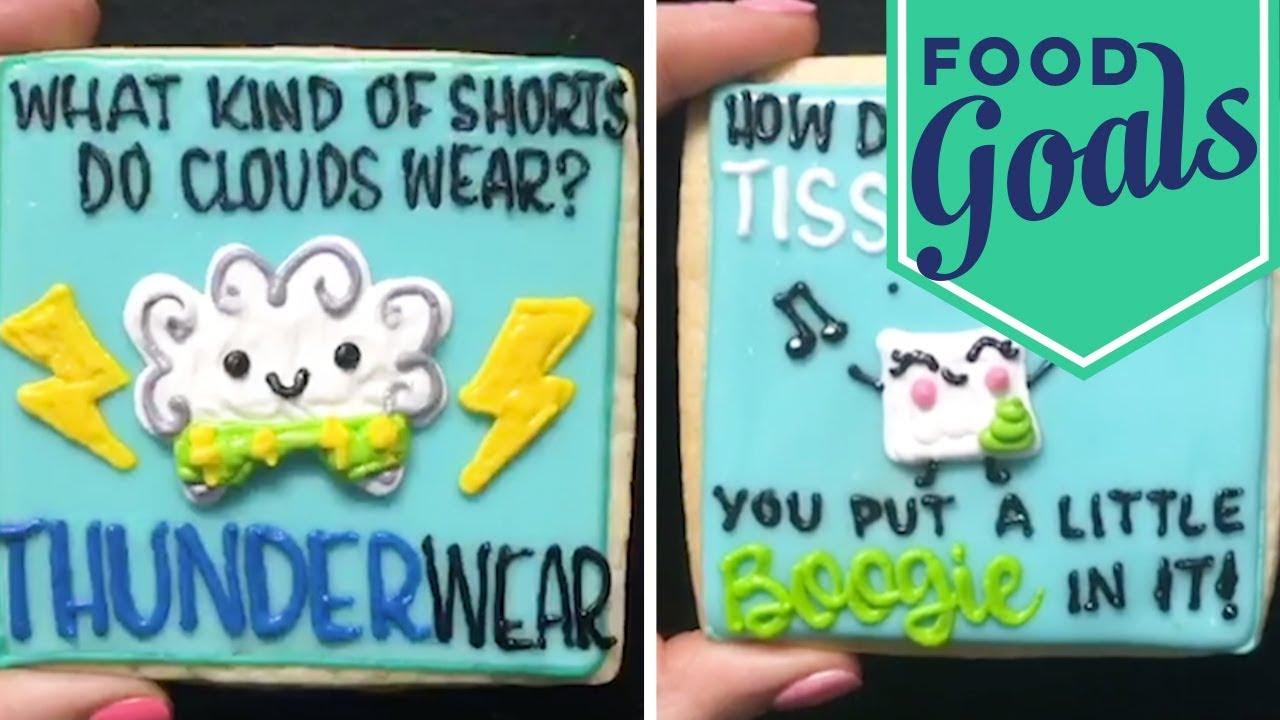 Dad Jokes on Cookies (via HayleyCakes) | Food Network - YouTube