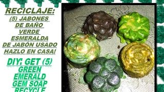 5 Fancy Bath Emerald GEM Bar Soap Spa DIY/Recicla,5 Jabon baño Lujoso Verde Esmeralda Thumbnail
