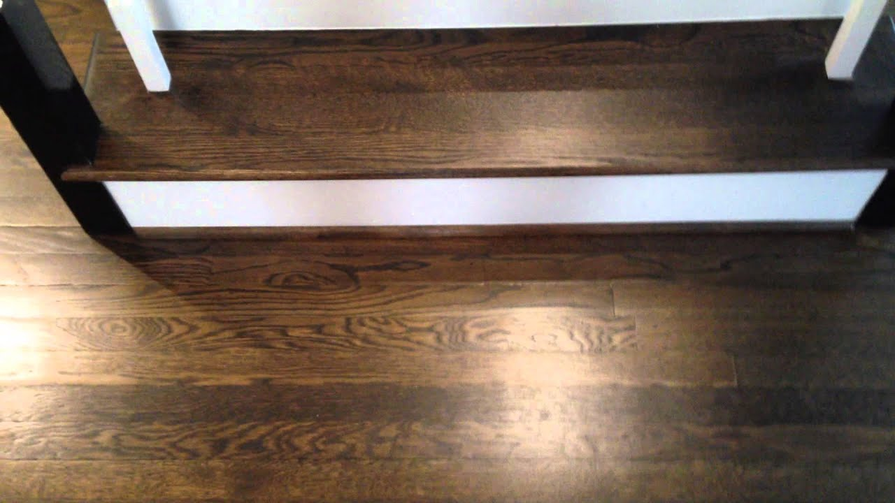 dark walnut color on hardwood floors and stairs