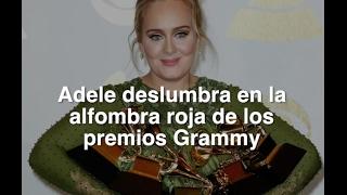 Adele deslumbra en la alfombra roja de los premios Grammy
