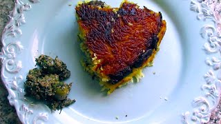 Saffron Yogurt Rice With Eggplants | Tahchin Bademjan | ته چین بادمجان با گوشت