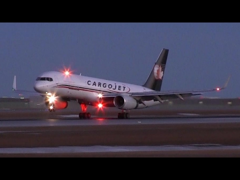 Cargojet Airways 757-223PCF [C-FGKJ] Dawn Landing at Calgary Airport ᴴᴰ