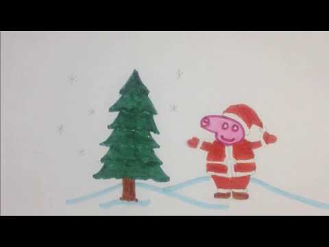 1 Minute Art - Draw and color Peppa Pig as Santa Clause for Christmas | Dumbo at Art
