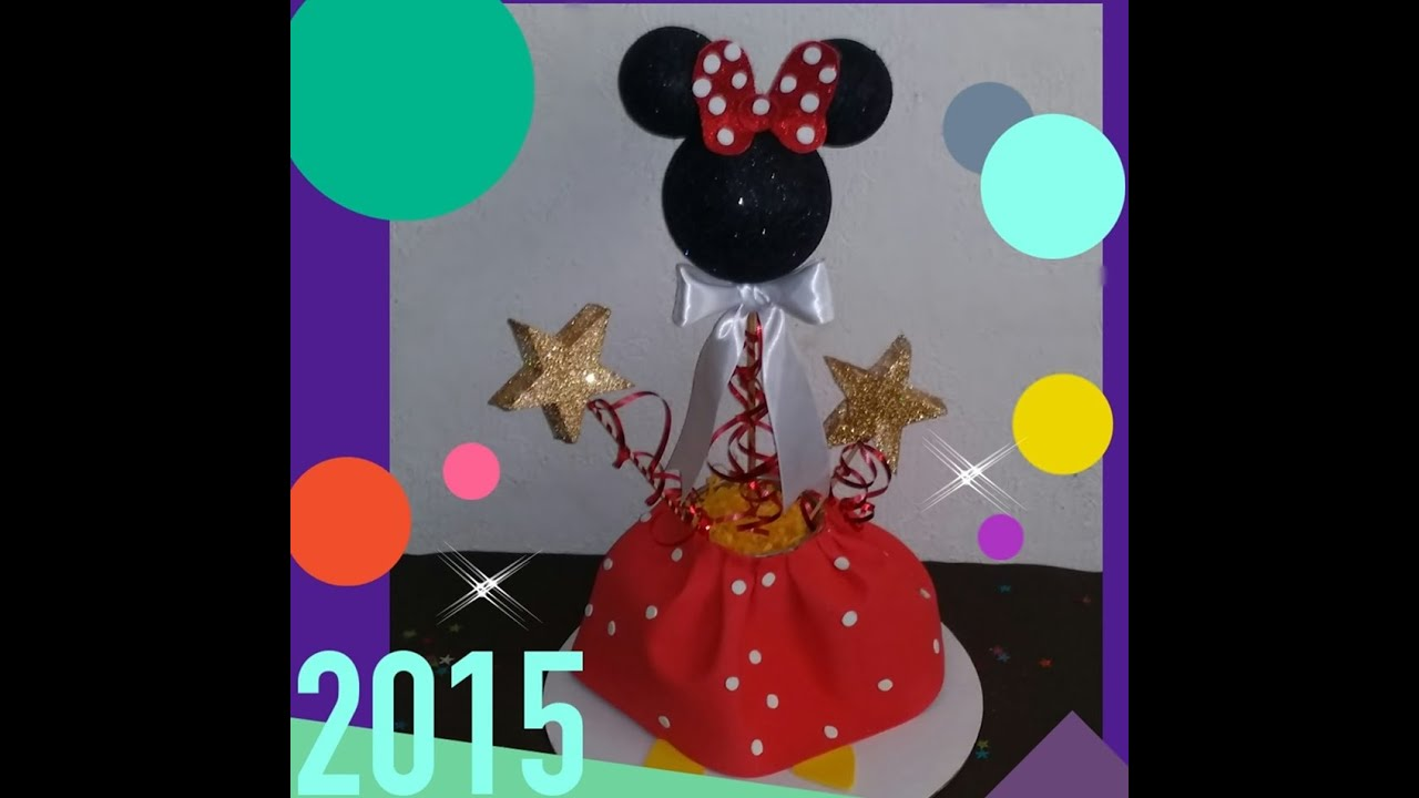 Diy centro de mesa de minnie mouse youtube - Manualidades centro de mesa ...