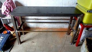 Как самому сделать слесарный стол, верстак.(Делаем сами стол, верстак в гараж, мастерскую. Верстак под наждак, тиски., 2015-09-24T09:36:07.000Z)