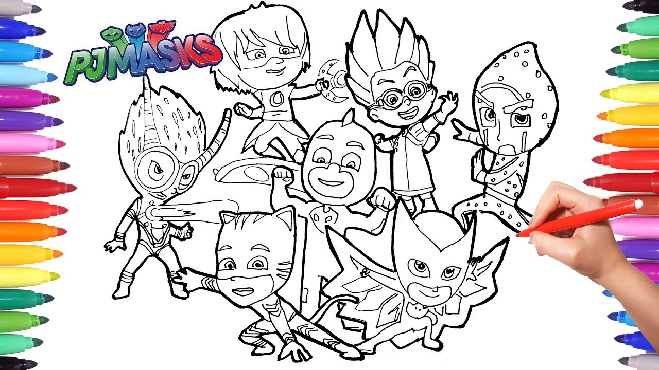 pj masks coloring book drawing and coloring pj masks for kids catboy gekko owlette pj masks - Pj Masks Coloring Pages