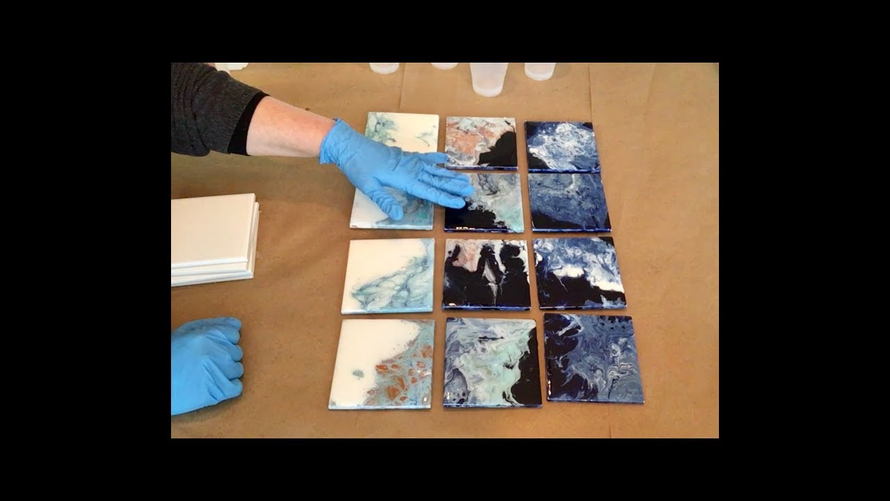 Fluid Fridays Ceramic Tile Coaster Acrylic Pour Painting !