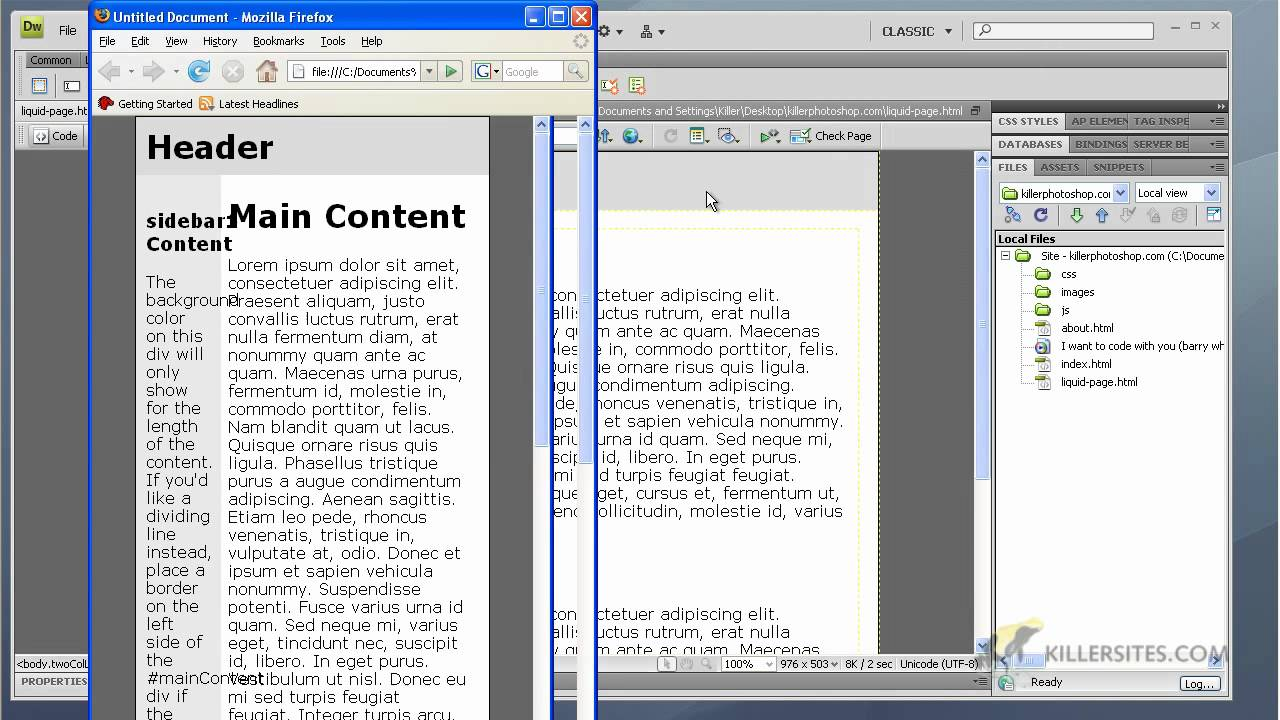 Dreamweaver cs4 basics a look at built in templates for Basic dreamweaver templates