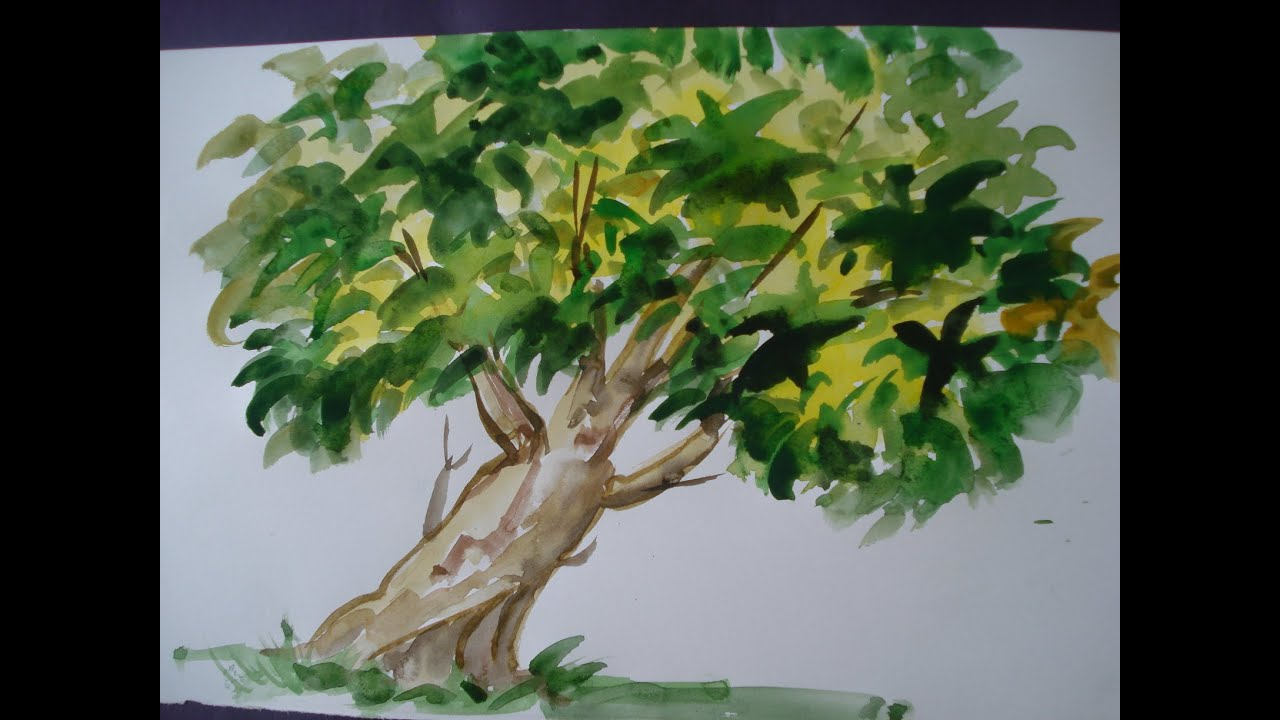 How To Draw TREE painting with using water colour - YouTube