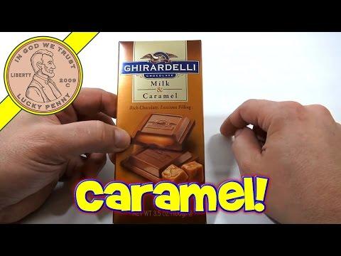 Ghirardelli Chocolate Milk & Caramel Candy Bar - USA Candy Tasting