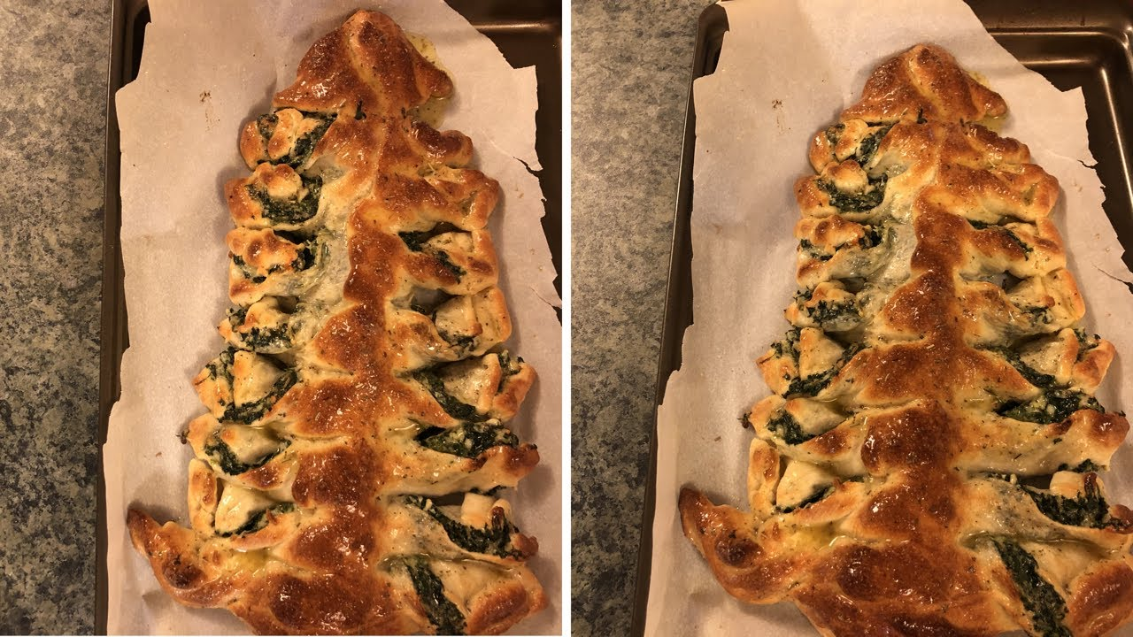 Christmas Tree Spinach Dip Breadsticks