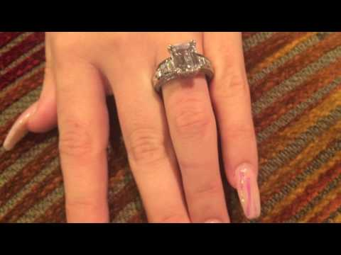 Emerald Cut Cubic Zirconia Step Cut Baguettes Channel Engagement Ring Solid 14k White Gold