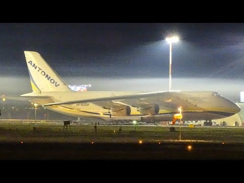 AMAZING SOUND | Antonov Design Bureau Antonov An-124 Powerful Night Takeoff from Belgrade Airport
