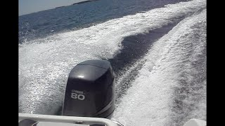 Sortie en mer, mi juin 2015 baie de Quiberon / bateau open commander 80cv. 43 noeuds !