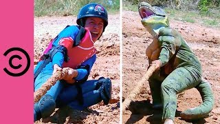 Taking On A Dinosaur In A Tug Of War | Takeshi's Castle