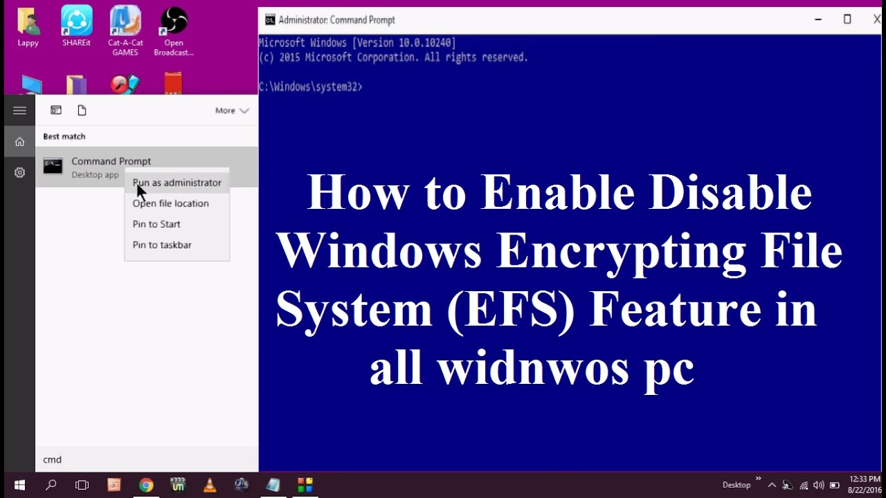 How to Enable Disable Windows Encrypting File System (EFS) Feature