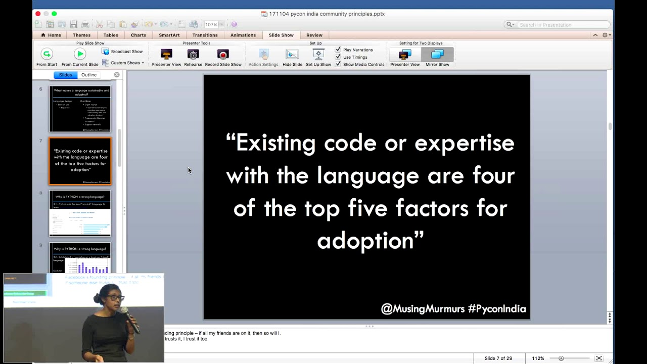 Image from python community principle keynote Elizabeth Ferrao