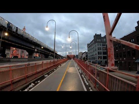 ⁴ᴷ⁶⁰ Cycling to New York City Hall from Long Island City via Williamsburg - November 16, 2018