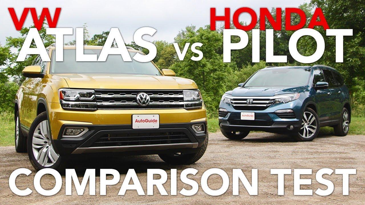 volkswagen atlas   honda pilot comparison test youtube