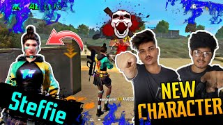 PLAYING WITH NEW CHARACTER STEFFIE || BEST ABILITY || ADVANCED SERVER LIVE REACTION || FREE FIRE