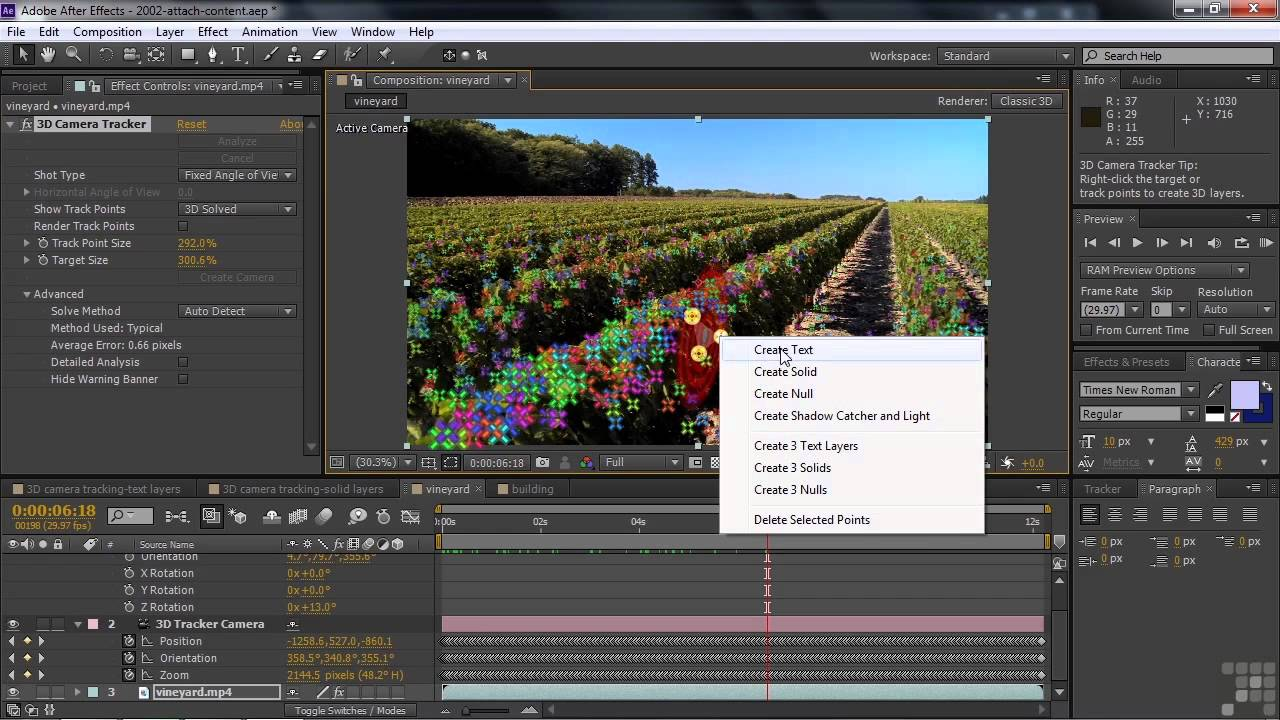 Tracking 3d camera movement in after effects.