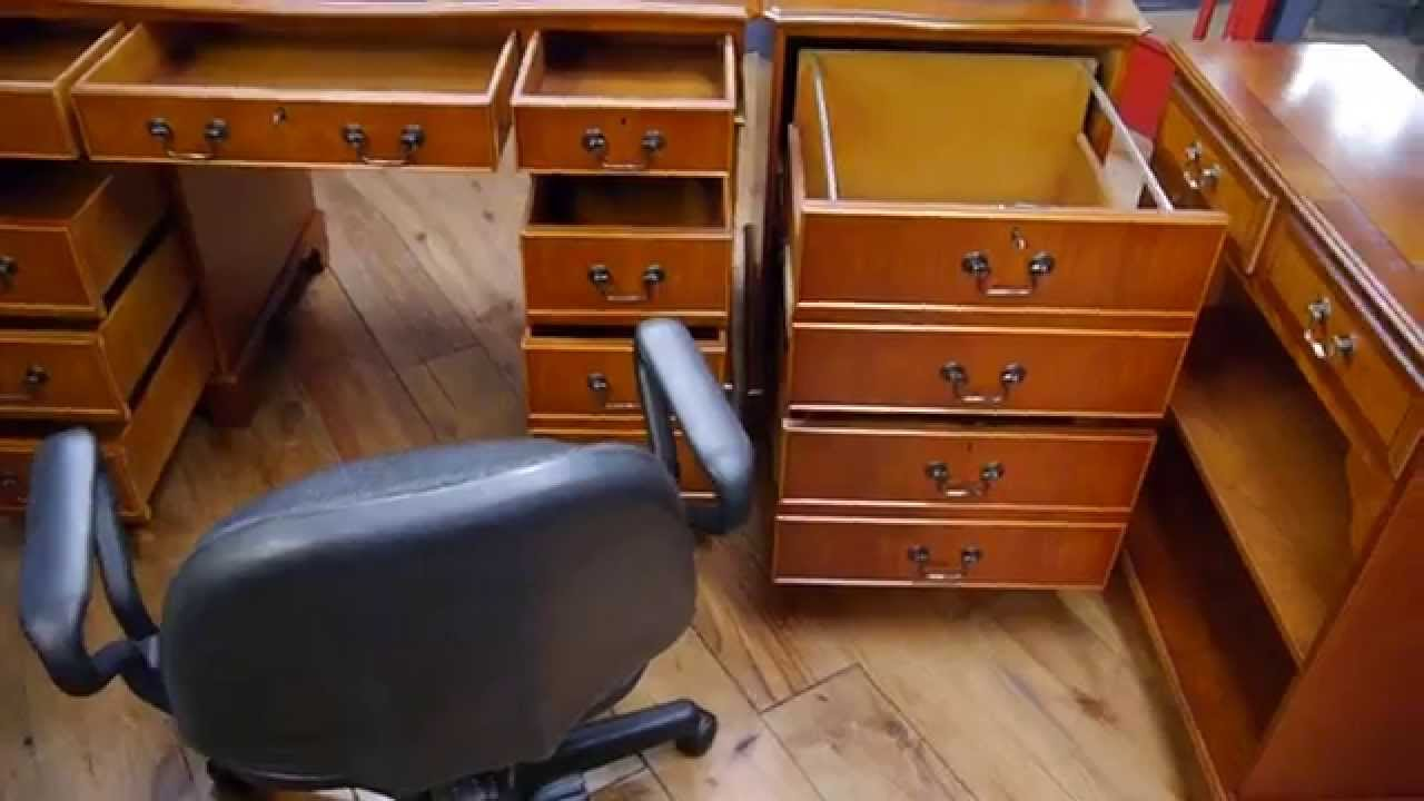 Twin Pedestal Yew Wood Writing Desk Bookcase Filing Cabinet Office Chair