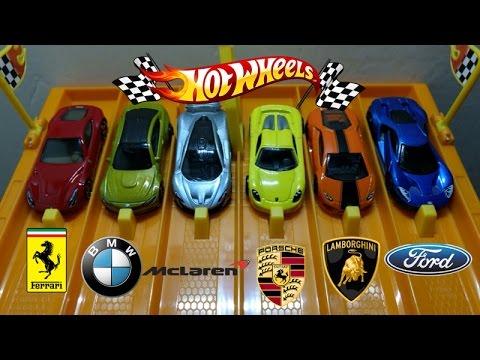 Hotwheels Supercar Drag Race! Ferrari vs BMW vs McLaren vs Lamborghini vs Porsche vs Ford GT!