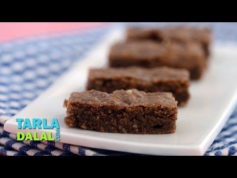 Chocolate Walnut Slice by Tarla Dalal
