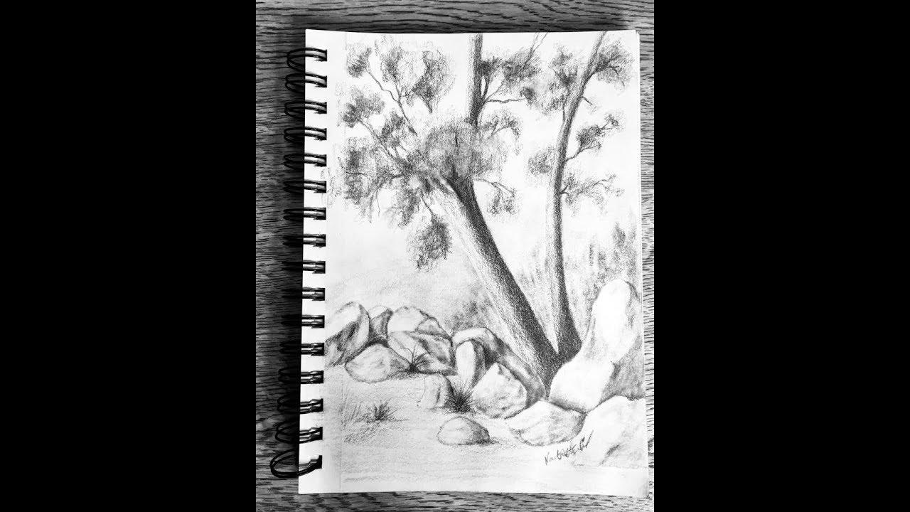 تعليم الرسم بالرصاص رسم منظر طبيعي سهل جدا How To Draw A Pencil